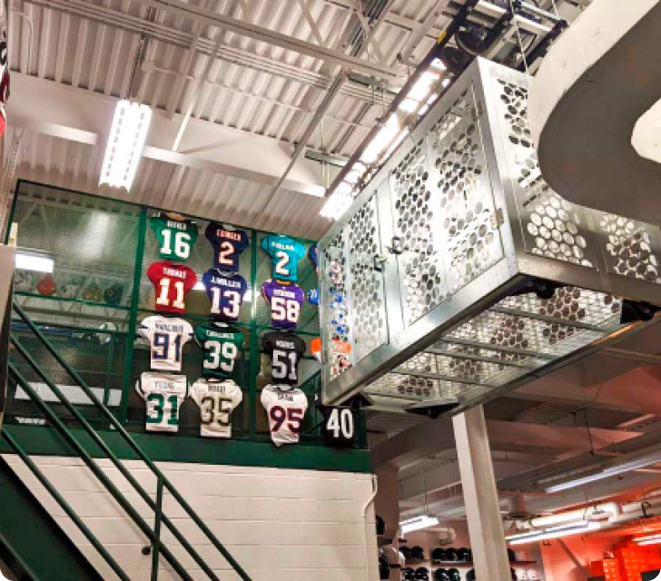 Storage cages for college football teams