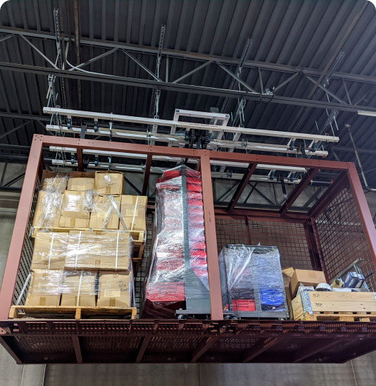 close-up of overhead storage in a warehouse