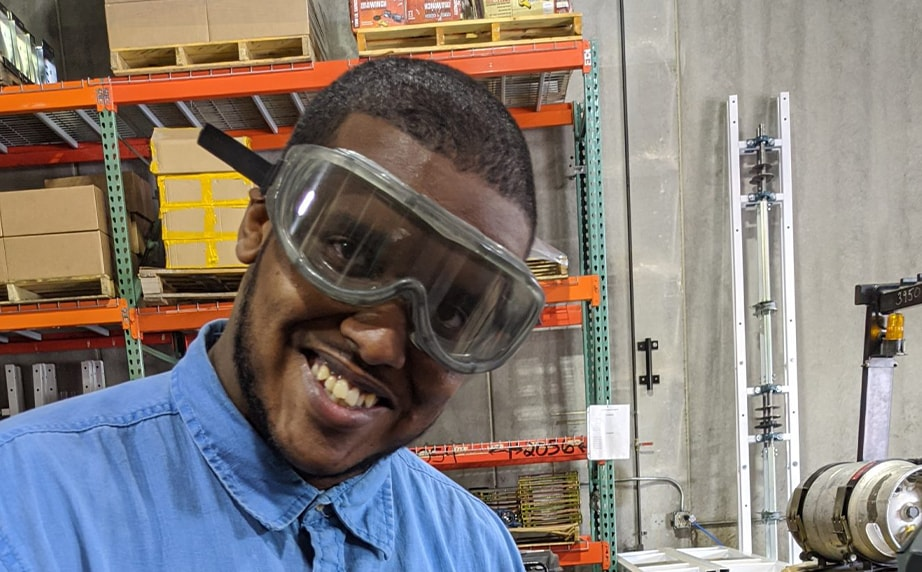 engineering intern, mohamed, at lift and store warehouse