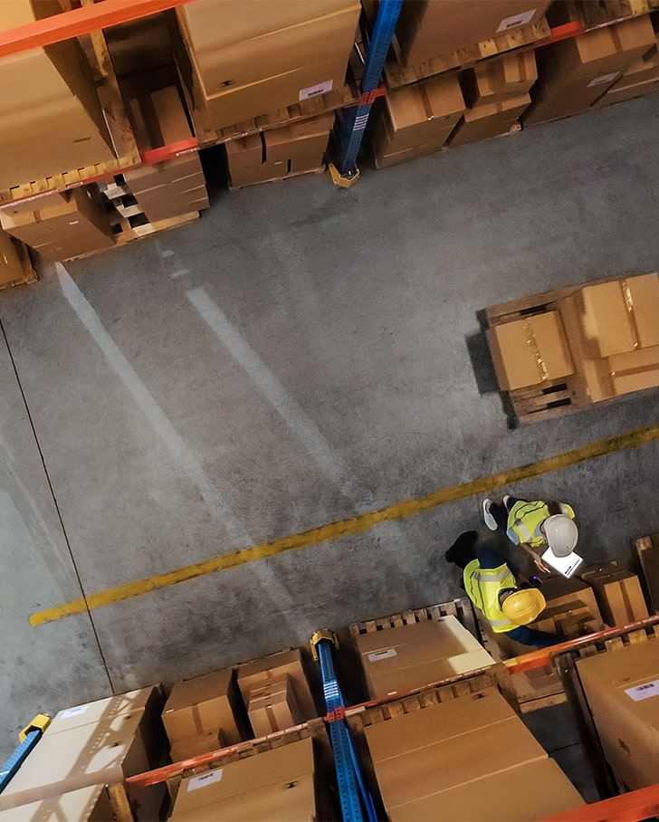 overhead view of facility using space saving ideas to stay organized
